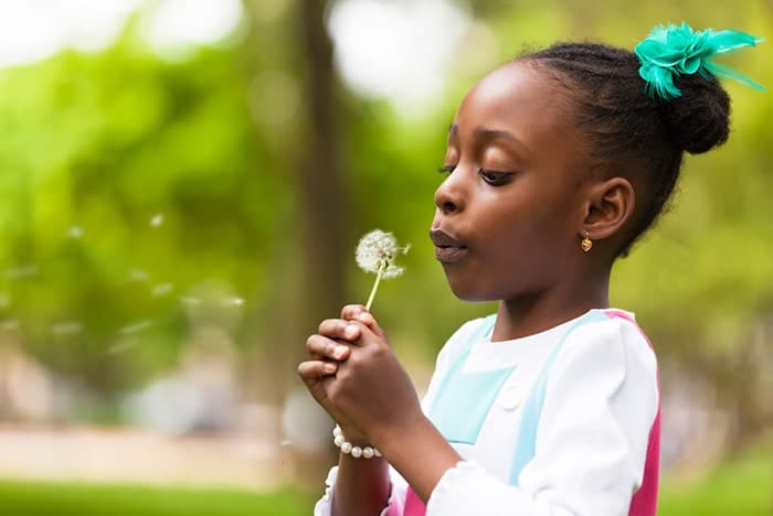 Aligned right image of little girl blowing a dandelion to the wind